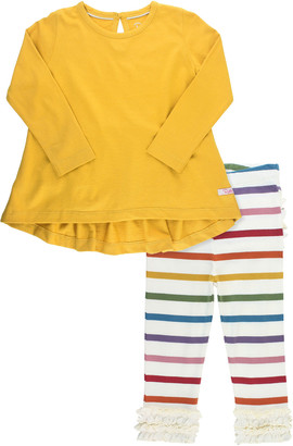 RuffleButts Girl's Solid Bow Top w/ Rainbow Striped Ruffle Leggings, Size 0-4T