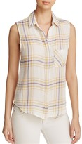 Side Stitch Sleeveless Plaid Button-Down Shirt