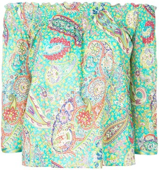 Etro Paisley Print Off Shoulder Blouse