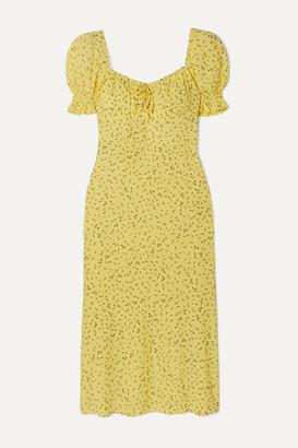 Faithfull The Brand Evelyn Floral-print Crepe Midi Dress - Yellow