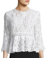 Rebecca Taylor Mixed-Lace Peplum Top, Chalk