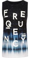 River Island Boys black frequency print tank