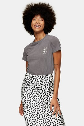 Topshop Womens Charcoal Grey Embroidered Alphabet Letter E T-Shirt - Charcoal