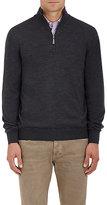 Barneys New York Men's Virgin Wool Mock-Turtleneck Zip-Front Sweater-DARK GREY