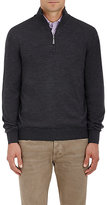 Barneys New York Men's Virgin Wool Mock-Turtleneck Zip-Front Sweater