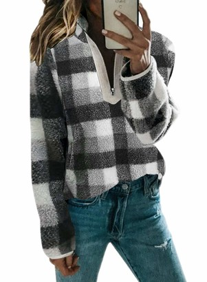 LOSRLY Women's Winter Loose Casual Long Sleeve Sherpa Fuzzy Fleece Side Split 1/4 Zip Pullover with Pockets Sport Shirt
