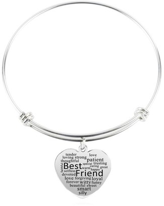 Heart Charm Bangle by Pink Box Best Friend Silver