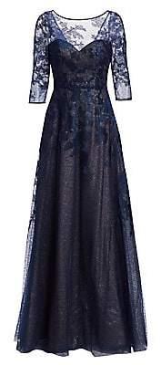 Rene Ruiz Collection Women's Three-Quarter Sleeve Illusion Ball Gown