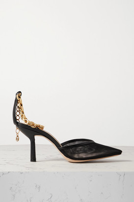 PORTE & PAIRE Chain-embellished Mesh And Leather Pumps