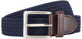 John Lewis Plaited Leather Trim Web Belt, Navy