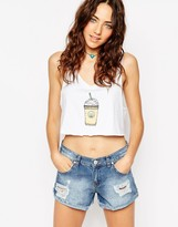 Asos Cropped Tank With Coffee Cup Print
