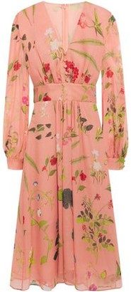 Oscar de la Renta Gathered Floral-print Silk-georgette Midi Dress