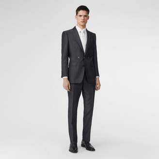 Burberry Classic Fit Triple Stud Silk Linen Tailored Trousers