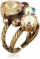 Sorrelli Core Antique Gold Tone Neutral Territory Crystal Assorted Rounds Adjustable Ring