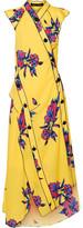 Proenza Schouler Asymmetric Floral-print Silk-crepe Dress - Marigold
