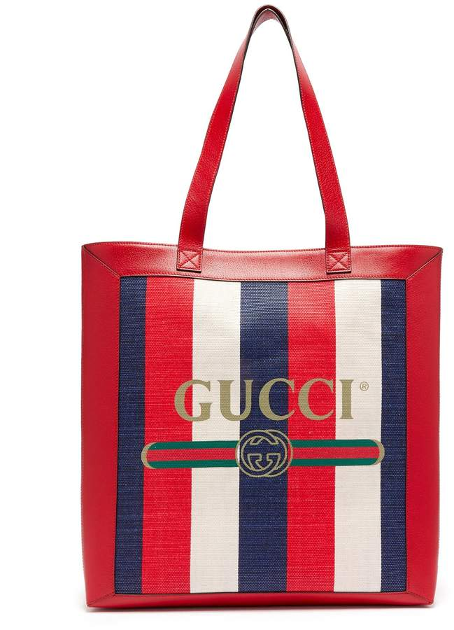 Gucci Striped large tote bag