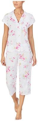 Lauren Ralph Lauren Plus Classic Knits Short Sleeve Dolman Notch Collar Capri Pants Pajama (Pink Floral) Women's Pajama Sets