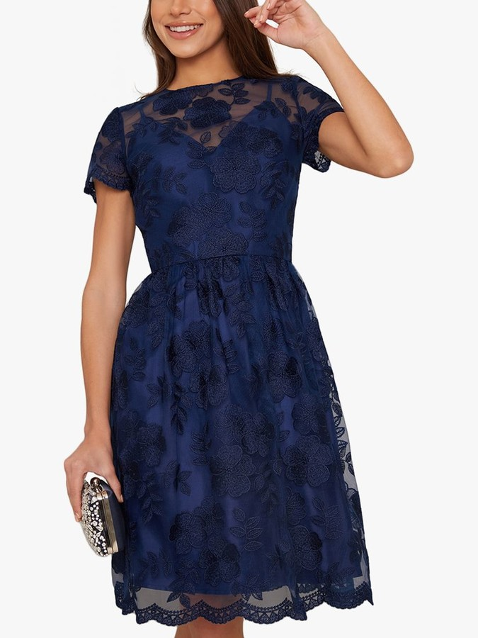 Chi Chi London Shana Floral Embroidered Knee Length Dress, Navy