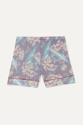 The Elder Statesman Printed Cashmere And Silk-blend Shorts - Purple