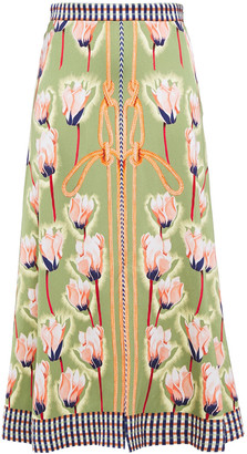 Temperley London Printed Satin-crepe Midi Skirt