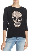 Aqua Cashmere Leopard Distressed Skull Sweater - 100% Exclusive