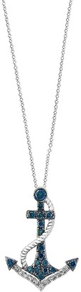 Effy Seaside 14K White Gold, Blue Diamond White Diamond Anchor Pendant Necklace