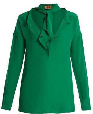 Colville - Neck Tie Silk Blouse - Womens - Green