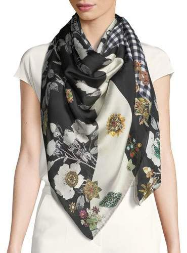 Alexander McQueen Patched Gingham Silk Shawl