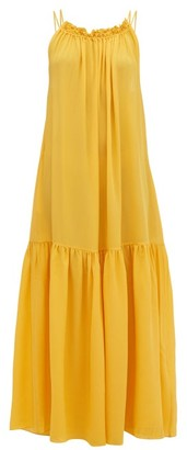Three Graces London Tatyana Gathered Scoop-back Silk Maxi Dress - Yellow