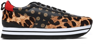 DKNY Faux Leather-paneled Printed Calf Hair Platform Sneakers