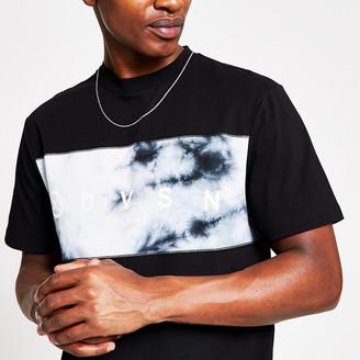 River Island DVSN black tie dye slim fit T-shirt