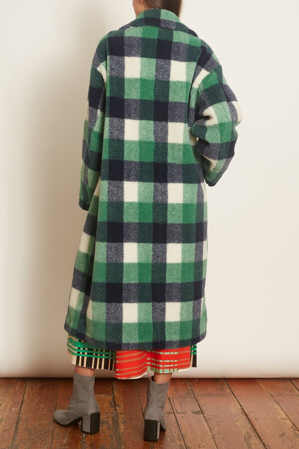 Thumbnail for your product : Stand Maria Coat in Green/Navy/White Check