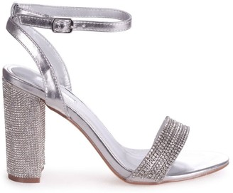 Linzi GEORGIE - Silver Metallic Diamante Embellished Block Heel