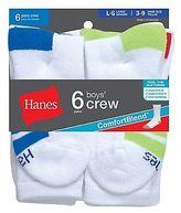 Hanes Boys Crew ComfortBlend Assorted White Socks 6-Pack
