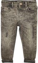 River Island Mini boys grey distressed skinny jeans