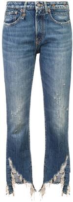 R 13 Kelly frayed hem jeans