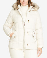 Lauren Ralph Lauren Plus Size Faux-Fur-Trim Quilted Toggle Coat, Only at Macy's