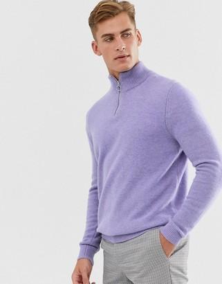 Asos Design DESIGN lambswool half zip jumper in lavender-Purple