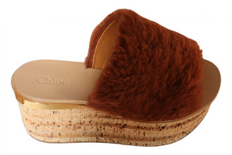 Chloé Camille Brown Faux fur Sandals