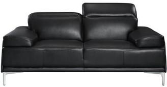 "Karlin Genuine Leather 72"" Square Arm Loveseat Orren Ellis Upholstery Color: Black"