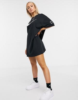 Nike double swoosh T-shirt dress in black