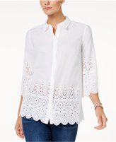 Charter Club Petite Lace-Edge Shirt, Only at Macy's