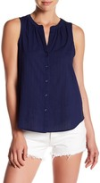 Lucky Brand Solid V-Neck Button Up Tank