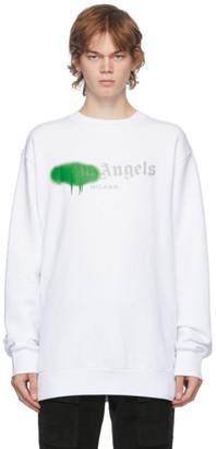 Palm Angels White and Green Milano Logo Sprayed Sweatshirt