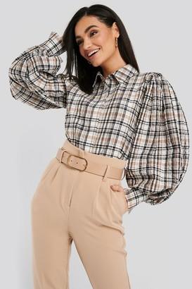 NA-KD Puff Sleeve Check Oversized Shirt