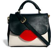 Lulu Guinness Small Cross Body Color Block Leather Satchel Bag