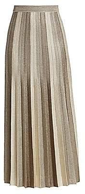 St. John Women's Shimmer Plisse Jacquard Knit Maxi Skirt - Size 0
