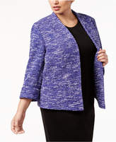 Kasper Plus Size Open-Front Tweed Blazer