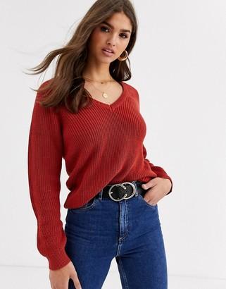 Vila chunky knit v-neck sweater