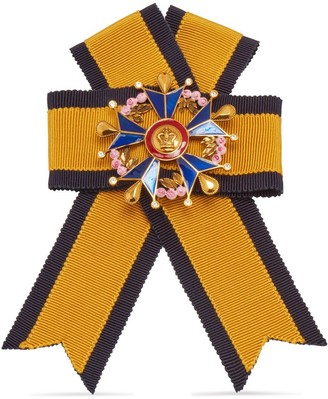 Mulberry Military Cross Brooch Yellow, Navy and Old Gold Fabric and Brass